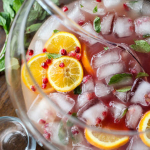 Pomegranate and Orange Champagne Punch