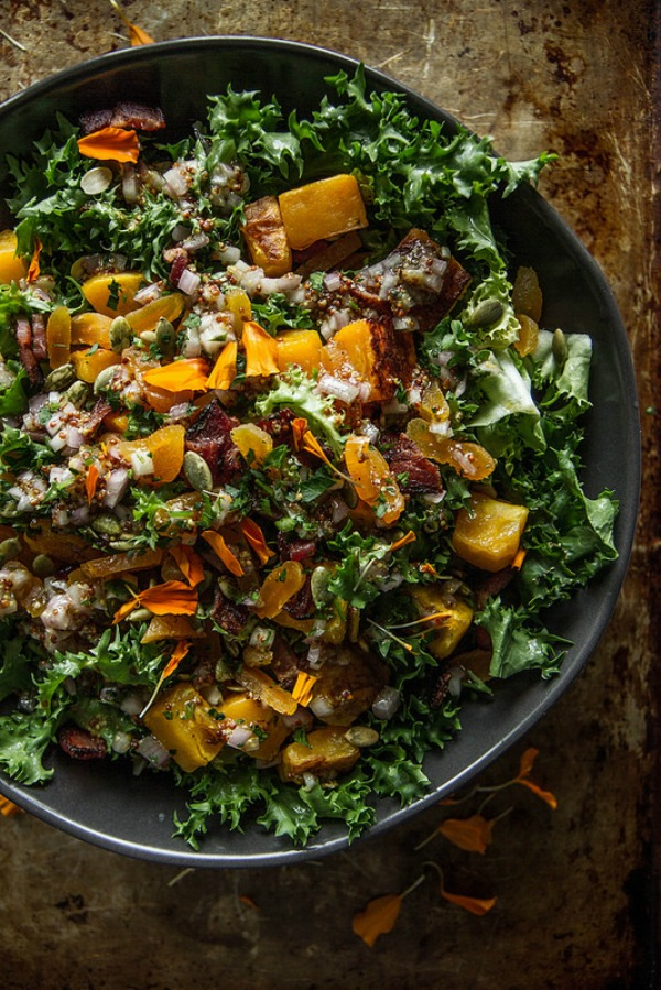 Escarole, Bacon and Roasted Butternut Squash Salad with Dried Apricots ...
