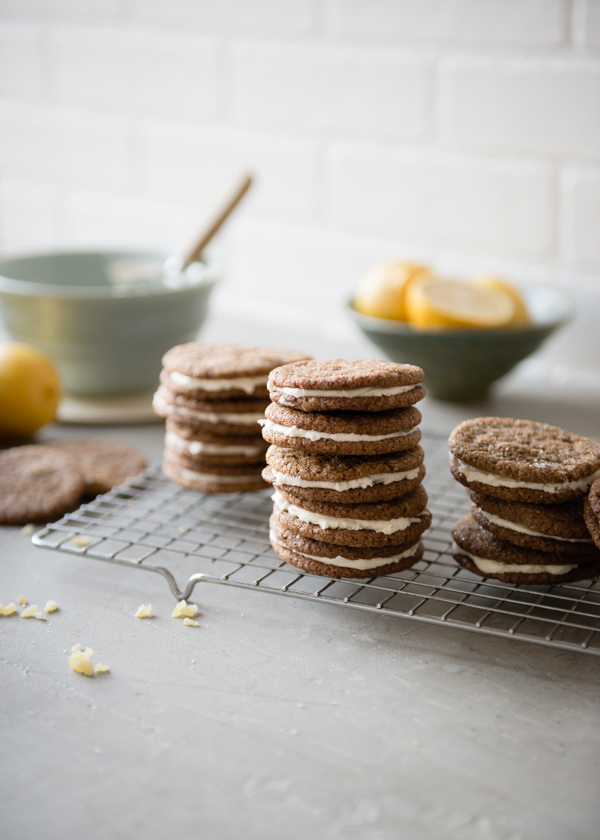 Gluten-Free Gingersnaps with Lemon Cream Filling from Cafe Johnsonia on foodiecrush.com