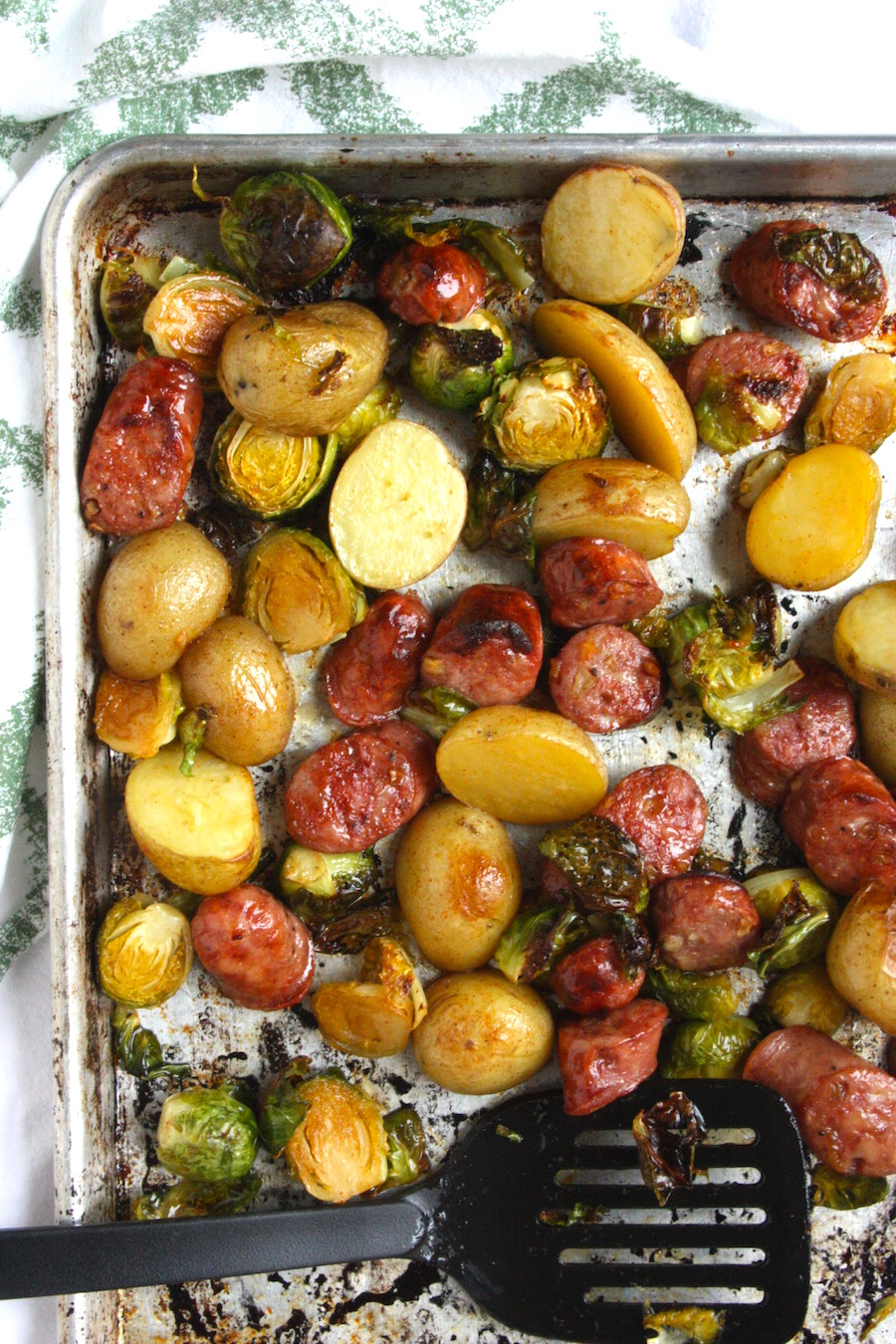Maple-Cayenne Sausage, Brussels Sprouts and Potato Sheet Dish from Project Domestication on foodiecrush.com