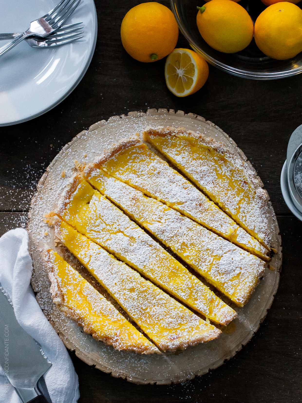 Meyer Lemon Tart | www.kitchenconfidante.com on foodiecrush.com
