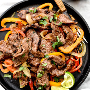 The Best Steak Fajitas on foodiecrush.com
