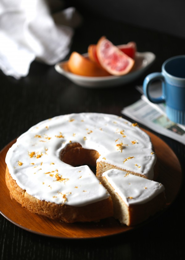 Grapefruit Pound Cake with Ginger Marshmallow Icing from Climbing Grier Mountain on foodiecrush.com