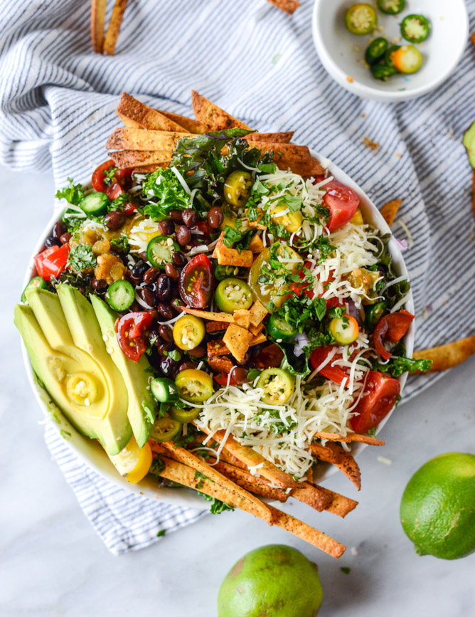 Crunchy Taco Kale Salad from How Sweet It Is on foodiecrush.com