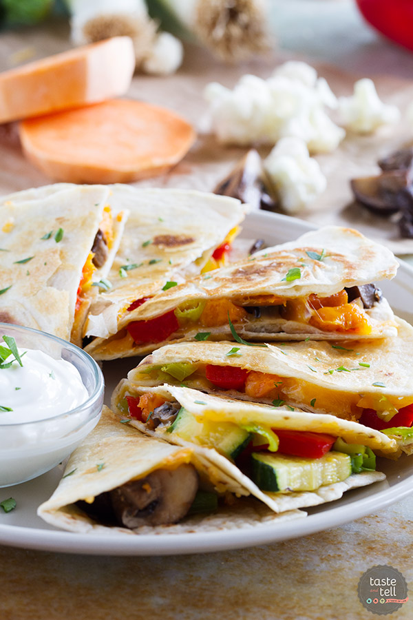 Roasted Veggie Quesadilla from Taste and Tell on foodiecrush.com
