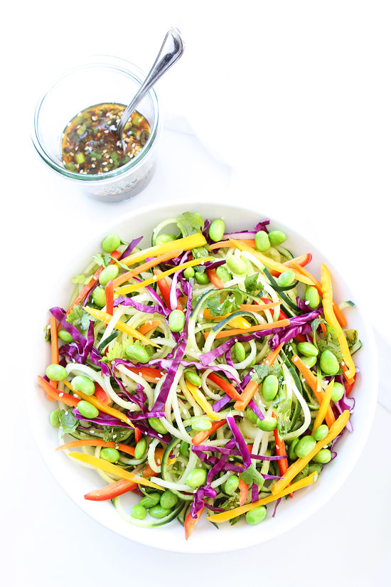 Asian Cucumber Noodle Salad from twopeasandtheirpod.com on foodiecrush.com