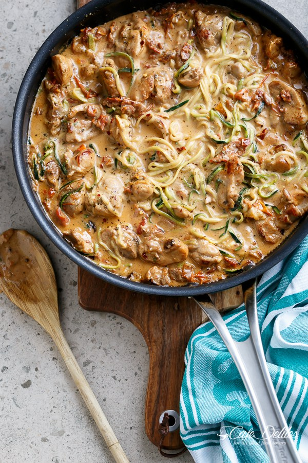 Creamy Sun Dried Tomato + Parmesan Chicken Zoodles from cafedelites.com on foodiecrush.com
