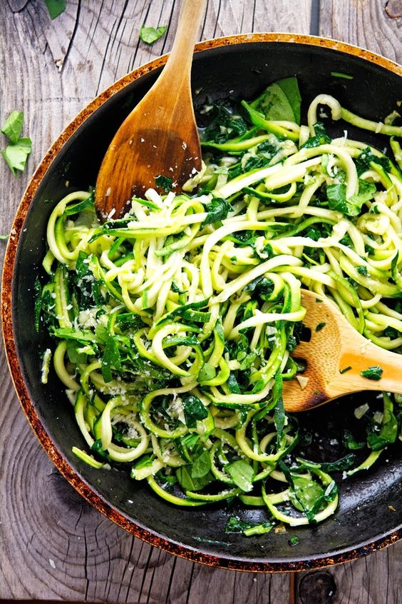 Garlic Butter Zoodles with Herbs from theironyou.com on foodiecrush.com