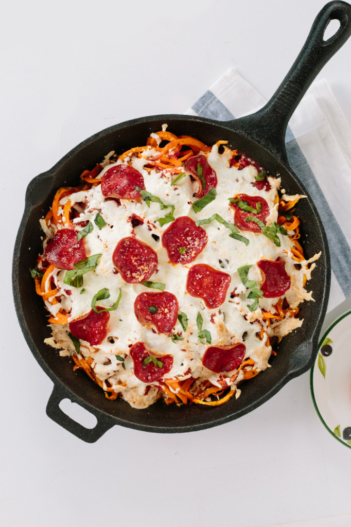 Spiralized Sweet Potato Bake with Turkey Pepperoni from inspiralized.com on foodiecrush.com