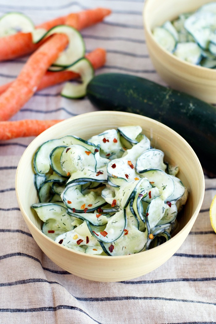 Spiralized Tzatziki Cucumber Salad from fitfoodiefinds.com on foodiecrush.com