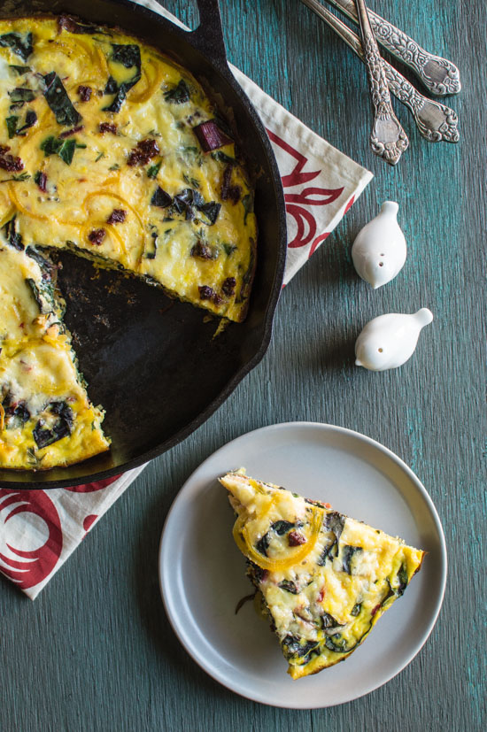 Swiss Chard and Golden Beet Frittata from healthynibblesandbits.com on foodiecrush.com