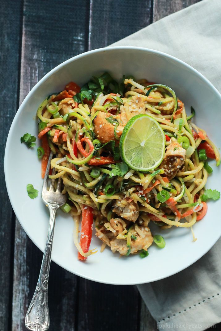 Thai Chicken Zucchini Noodles with Spicy Peanut Sauce from joyfulhealthyeats.com on foodiecrush.com