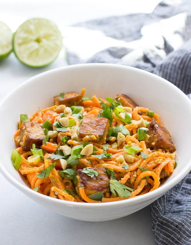 Thai Sweet Potato Noodles with Crispy Tofu from makingthymeforhealth.com on foodiecrush.com