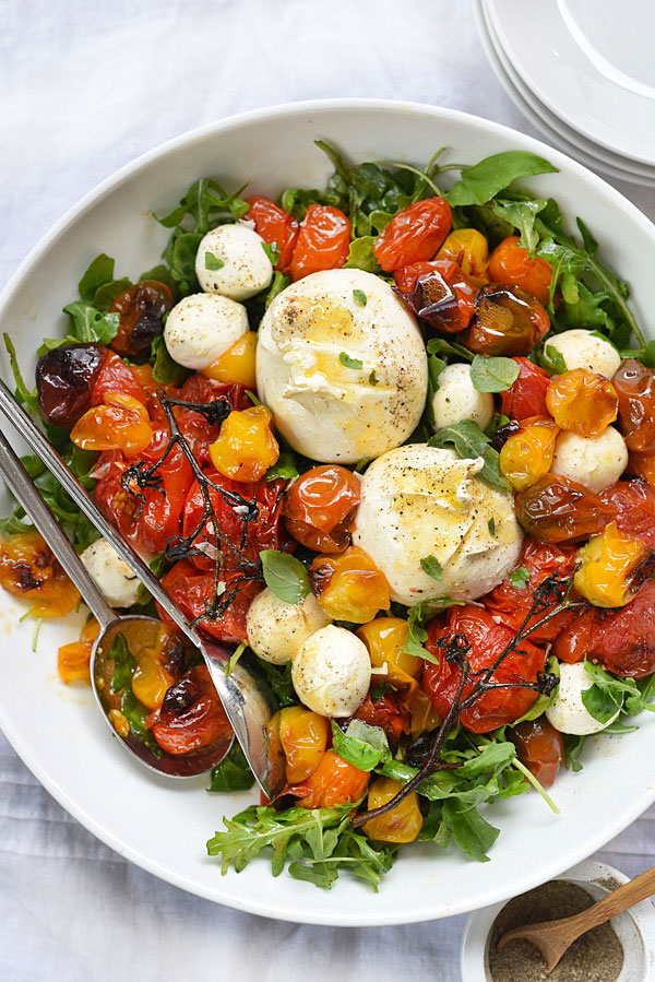 Roasted Tomato and Burrata Caprese Salad | foodiecrush.com