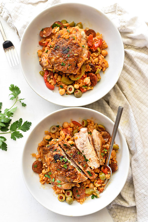 Spanish Chicken and Rice Recipe | foodiecrush.com