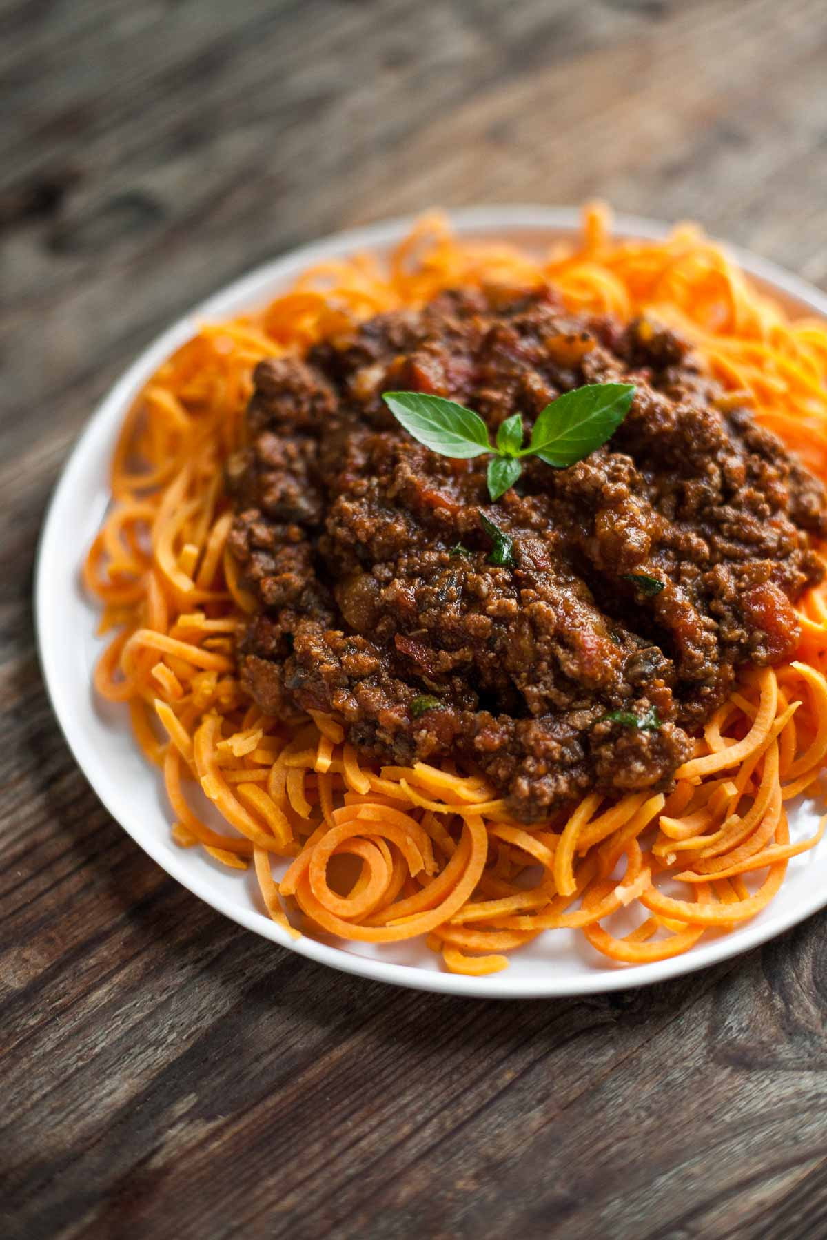 Slow-Cooked Bolognese Sauce with Sweet Potato Spaghetti from acalculatedwhisk.com on foodiecrush.com