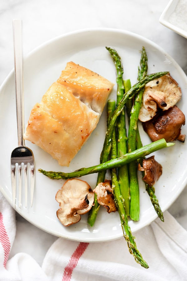 Broiled Miso Cod with Vegetables is an easy sheet pan dinner with a quick clean up   foodiecrush.com #fish #miso #cod