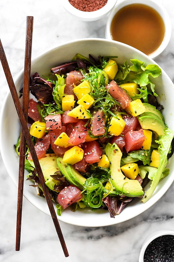 Poke Tuna and Mango Salad | foodieccrush.com #recipe #tuna #homemade #Ahi #easy