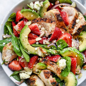 Strawberry Avocado Spinach Salad with Chicken