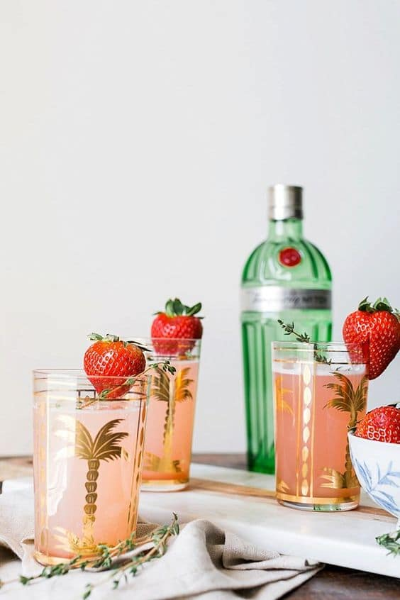 Rhubarb and Strawberry Gin Fizz from Waiting on Martha on foodiecrush.com