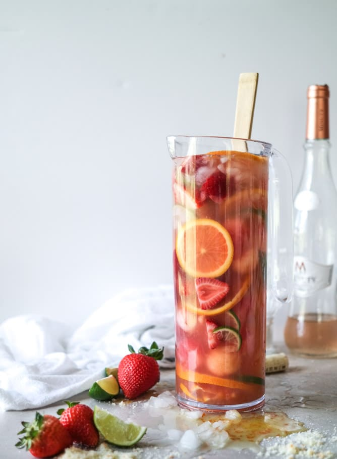 Rose Sangria from How Sweet It Is on foodiecrush.com