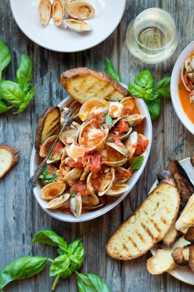 Clams with Tomatoes, Basil and Blue Cheese from Coley Cooks on foodiecrush.com