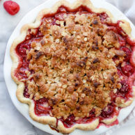 Rhubarb and Raspberry Pie With Oatmeal Crumble | foodiecrush.com