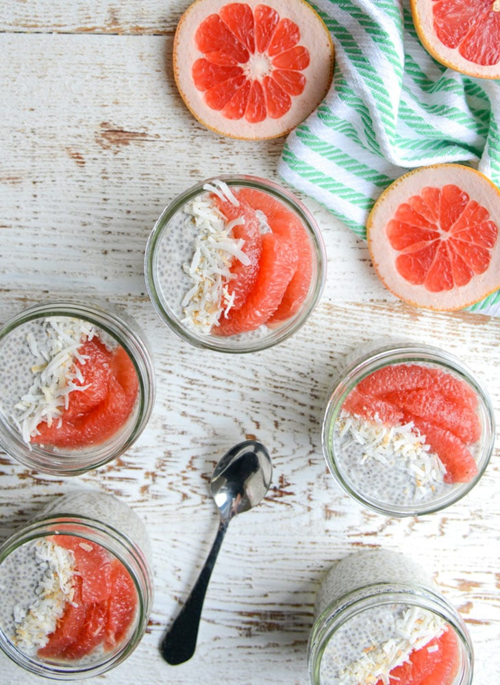 Grapefruit & Ginger Chia Seed Pudding from realfoodwholelife.com on foodiecrush.com