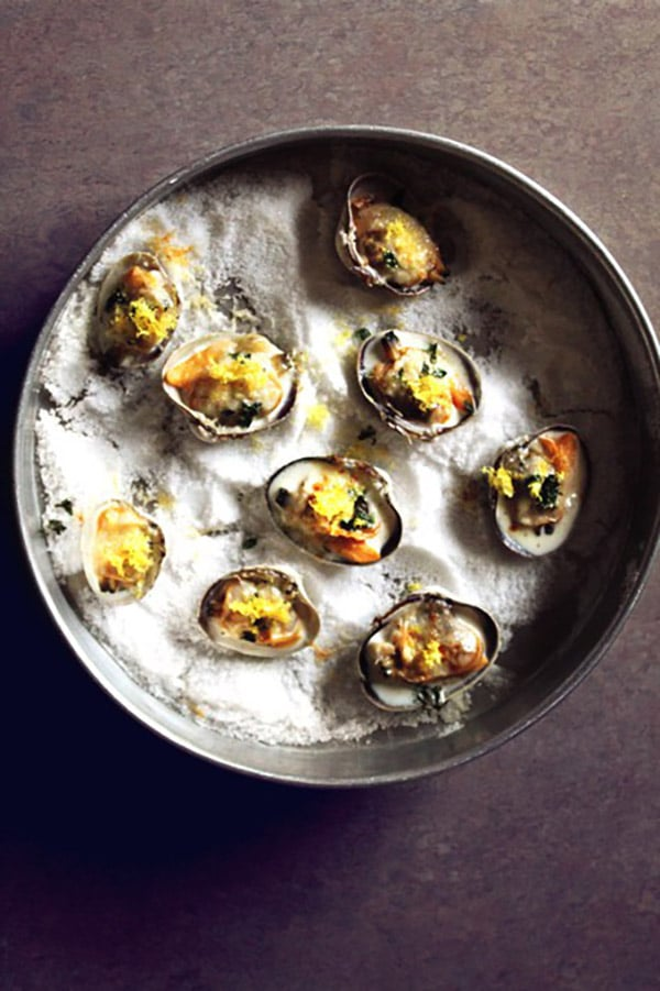Littleneck Clams with Lemon, Thyme and Parmesan from The Rhubarbarians on foodiecrush.com