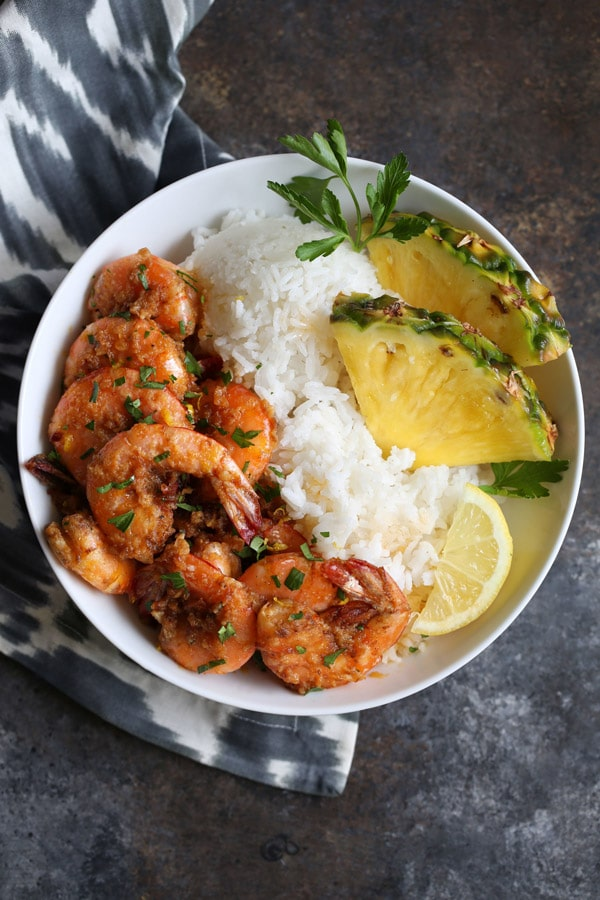 Hawaiian Garlic Butter Shrimp from Cooking With Cocktail RIngs on foodiecrush.com