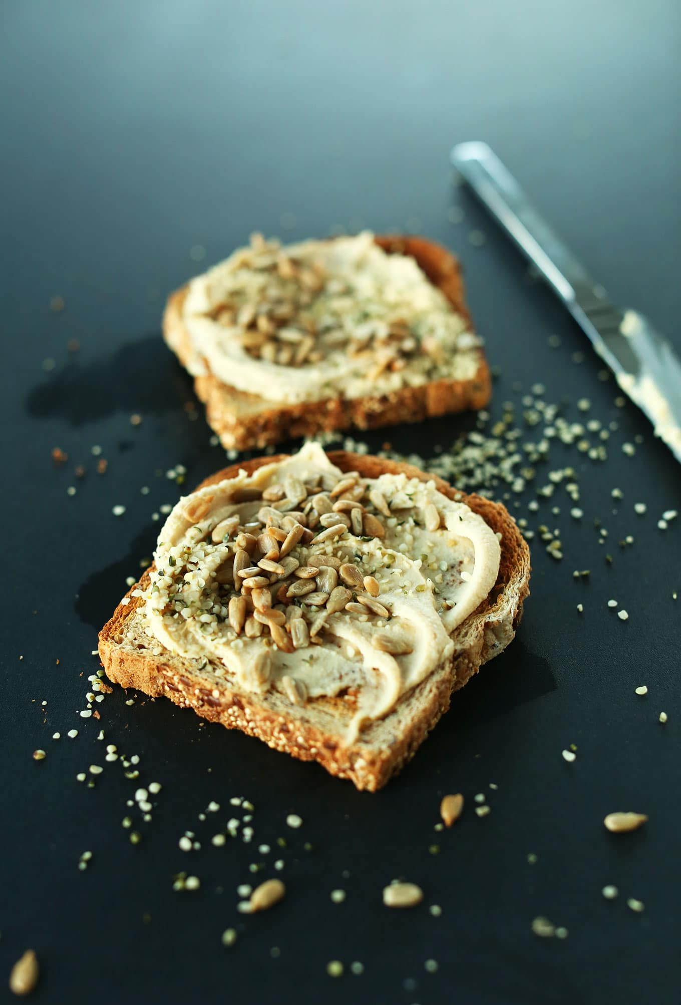Seedy Hummus Toast from minimalistbaker.com on foodiecrush.com