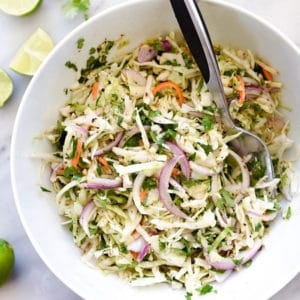 Easy Mexican Coleslaw Recipe | foodiecrush.com