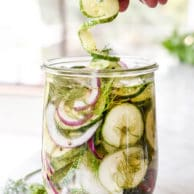 Spiralized Refrigerator Dilly Pickles | foodiecrush.com