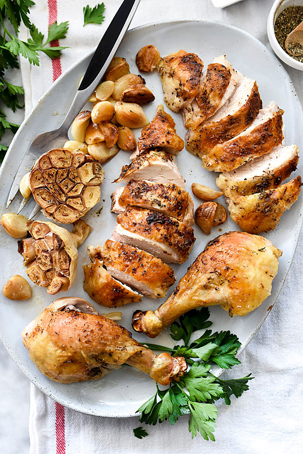40 Cloves of Garlic Roast Chicken | foodiecrush.com