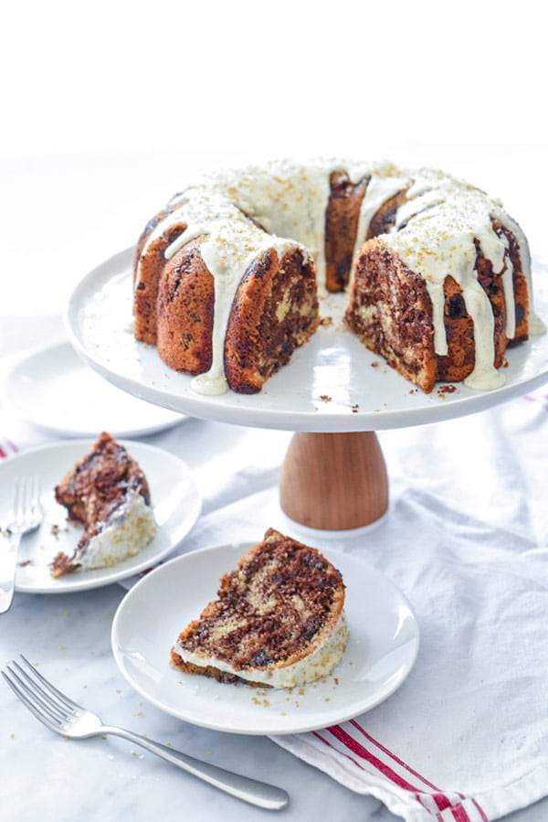 Vanilla and Chocolate Marbled Bundt Cake on foodiecrush.com