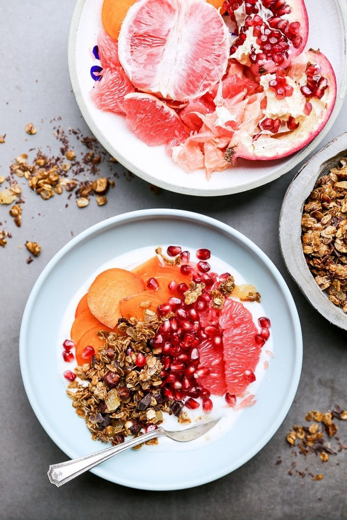Winter Fruit and Yogurt Breakfast Bowls with Gingerbread Granola by Floating Kitchen