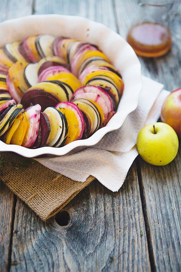 Beet and Root Vegetable Tian with Apple Cider Reduction by Food for my Family