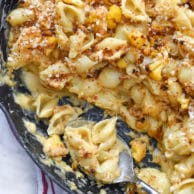 Skillet Cauliflower Mac and Cheese sneaks in a little healthy to everyone's favorite comfort food | foodiecrush.com