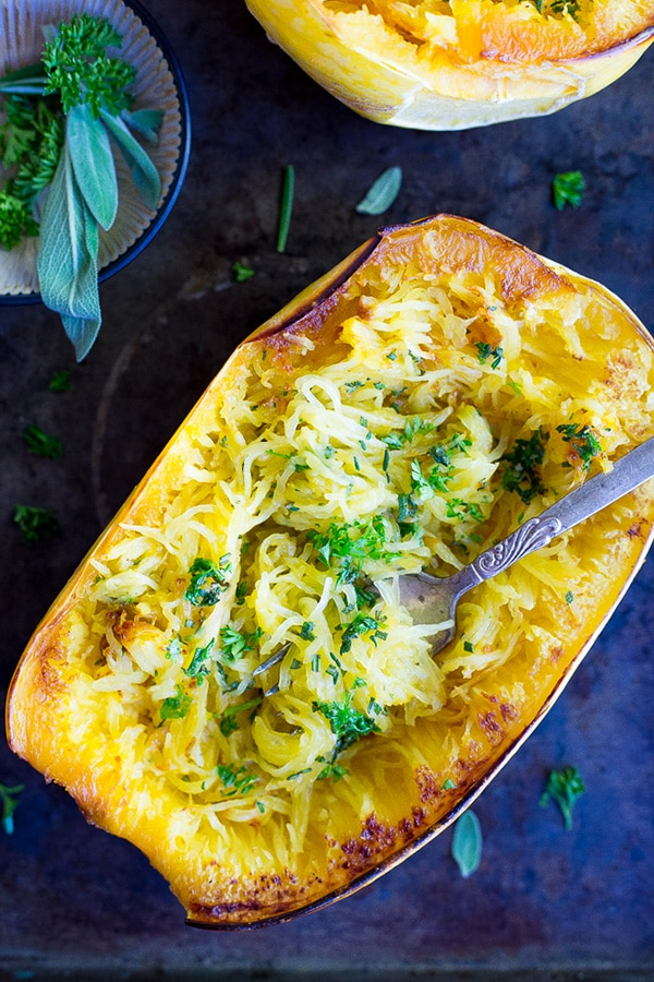 Garlic and Herb Spaghetti Squash Boats by She Likes Food on foodiecrush.com