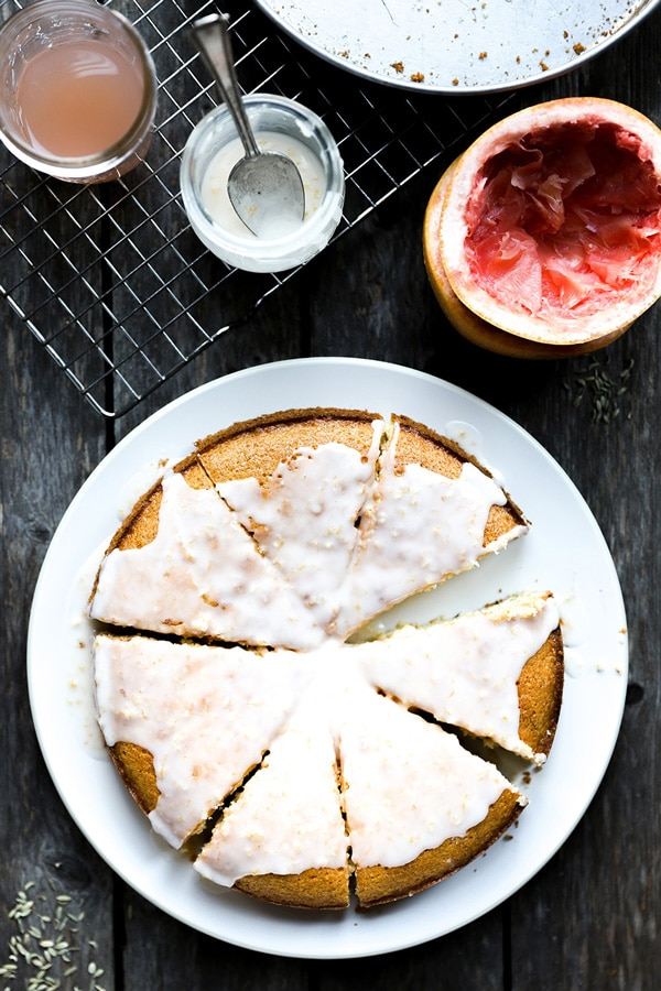 Olive Oil Cornmeal Cake with Grapefruit and Fennel by Floating Kitchen on foodiecrush.com