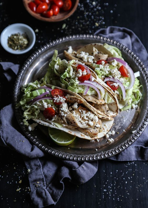 Greek Chicken Tacos with Feta Citrus Slaw from climbinggriermountain.com on foodiecrush.com