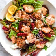 Green Salad with Shrimp, Beets, Pecans and Goat Cheese | foodiecrush.com