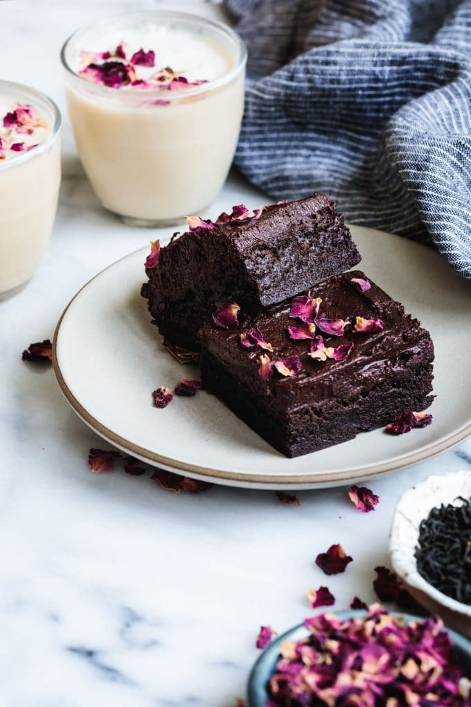 Frosted Earl Grey Brownies with Rose Petals from snixykitchen.com on foodiecrush.com