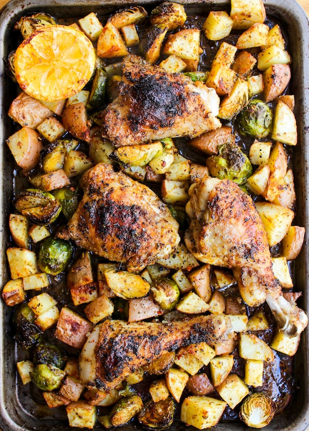 One Pan Chicken with Lemon Garlic Potatoes and Brussels Sprouts from asaucykitchen.com on foodiecrush.com
