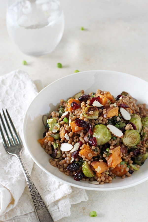 Brussels Sprout and Sweet Potato Israeli Couscous Salad from Oh My Veggies | foodiecrush.com