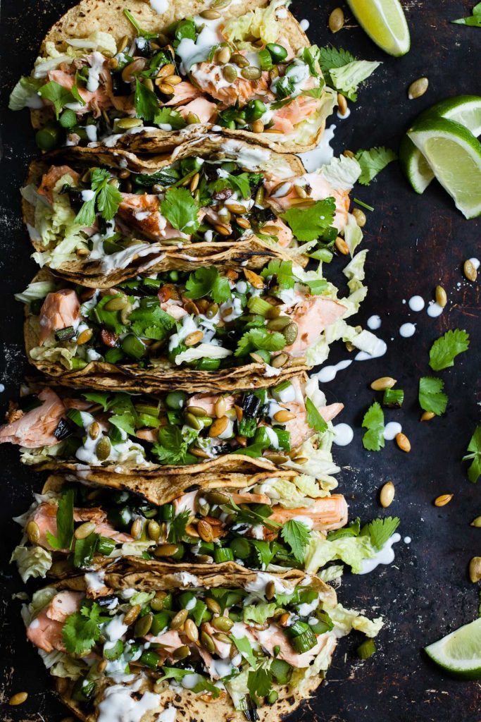 Salmon Tacos with Green Onion & Asparagus Salsa from Snixy Kitchen on foodiecrush.com