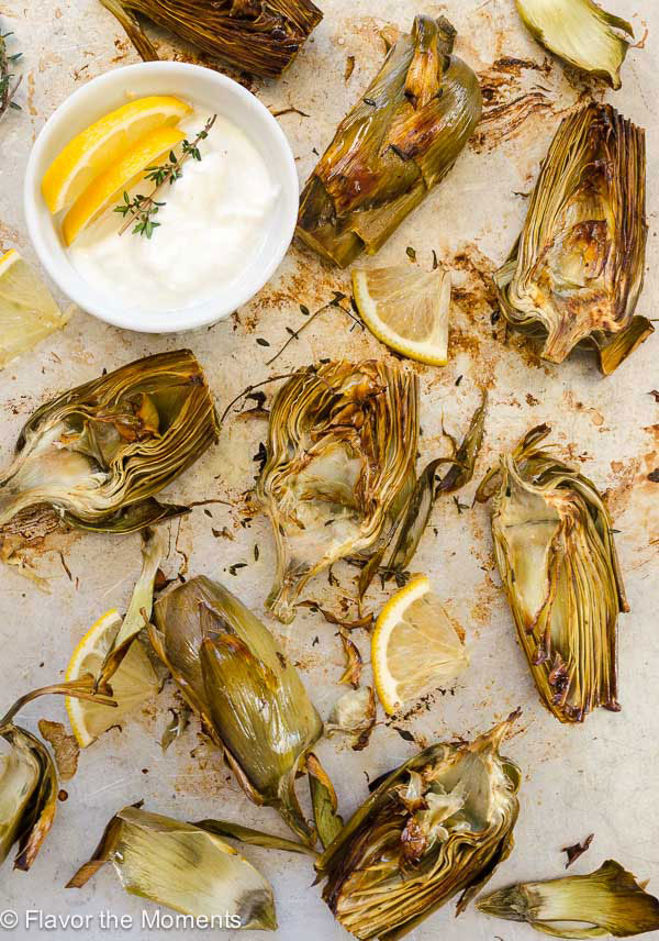 Easy Lemon Thyme Roasted Artichokes from Flavor the Moments on foodiecrush.com