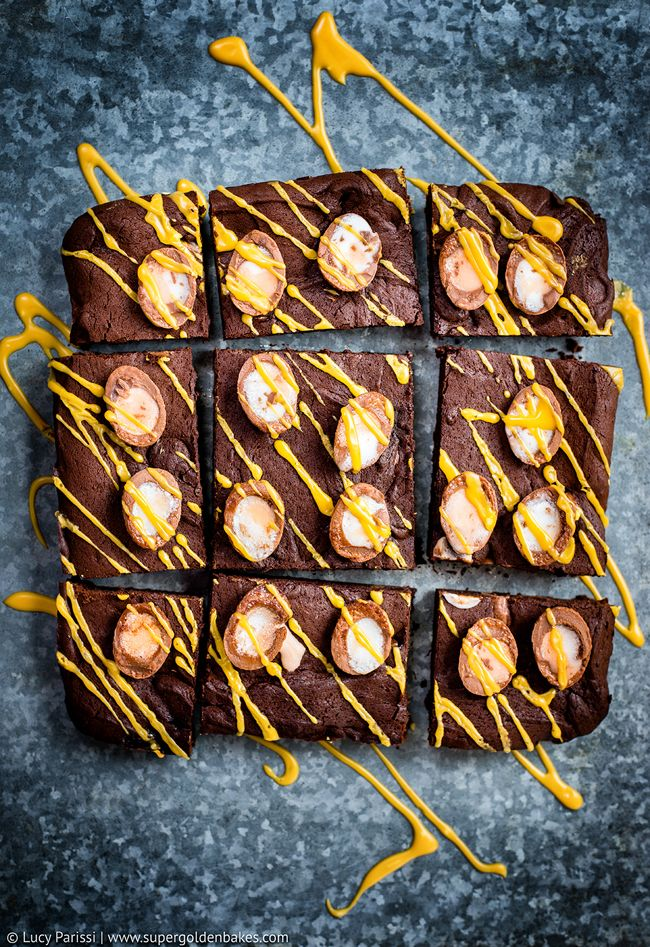 Totally Addictive Creme Egg Brownies from supergoldenbakes.com on foodiecrush.com