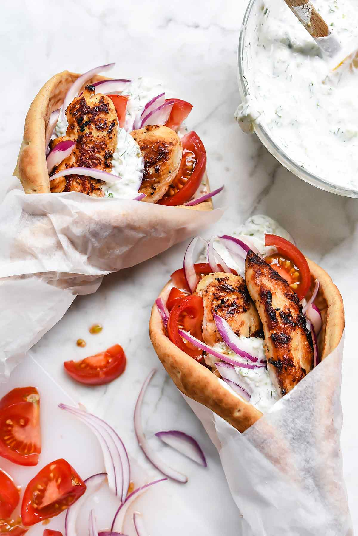 Easy Chicken Gyros With Tzatziki Sauce Foodiecrush Com