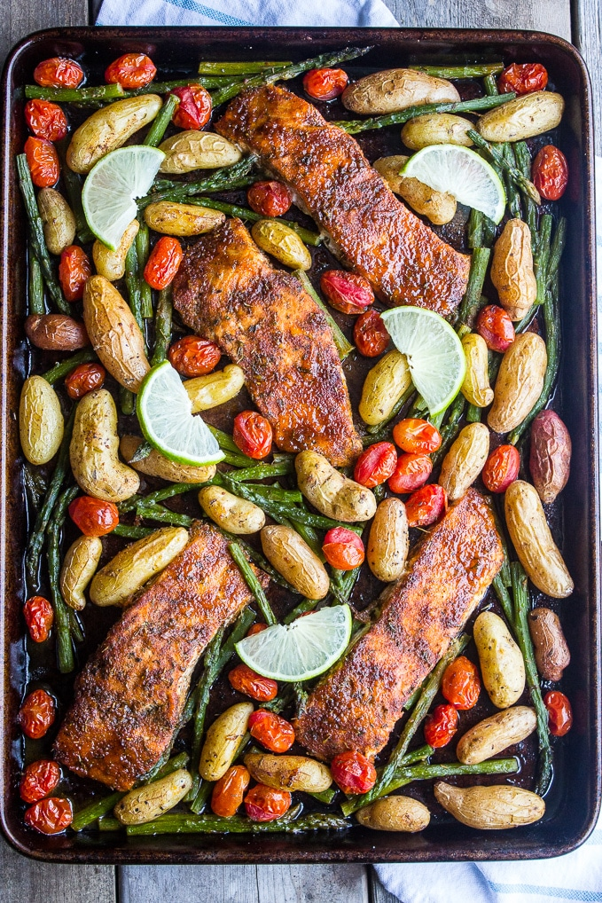 Sweet and Spicy Sheet Pan Salmon from Beach House Kitchen | foodiecrush.com